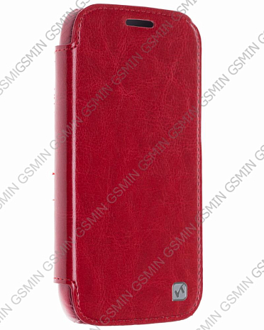 Кожаный чехол для Samsung Galaxy K Zoom (C1158) Hoco Crystal Series View Leather Case (Красный)